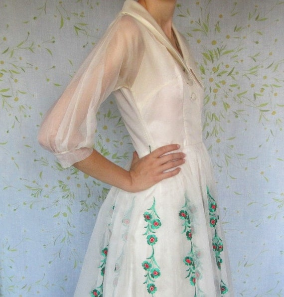 50s ivory organza dress // Christmas wedding or party dress