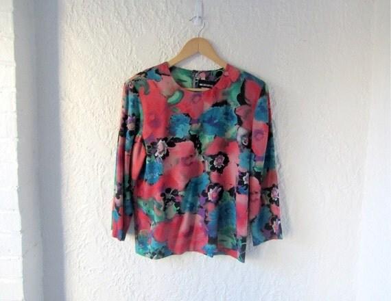 80s watercolor blouse // 1980s floral print vintage top