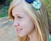 Baby headband, Newborn headband, Adult headband, Child headband and Photography Prop. triple rosettes in navy, plaid and white. ADDIE
