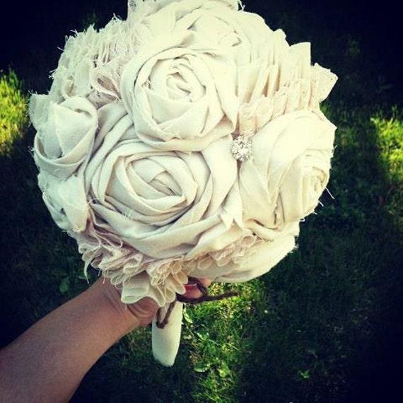 Handmade Bridal Bouquet, Weddings, Vintage Wedding, Fabric Flowers Bouquet, Wedding Bouquet