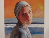 after Vermeer, quality giclee print on heavy paper, wall art, inspired by Girl with the Pearl Earring, woman in headscarf, traditional style
