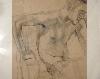 j.j., conte drawing on newsprint, figure drawing, nude male