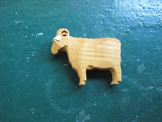 Hand Carved Wooden Ram Sheep Figurine 2.5 inches tall 4 inches long Light Colored Wood with White Leather Ears