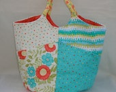 Large Polka Dot and Floral Patchwork Tote