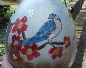 BIRD Birdhouse Gourd, Hand Painted, 10 Inches, Original