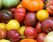 Fresh Heirloom Tomatoes Photograph 5x7 Photo Nature Photography Close-up Organic Vegetable Farmers Market Fruit Produce Picture Garden