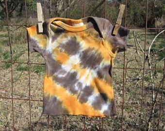 Organic Baby Tshirt, Tie Dyed in Orange & Brown Diagonals, Newborn Size