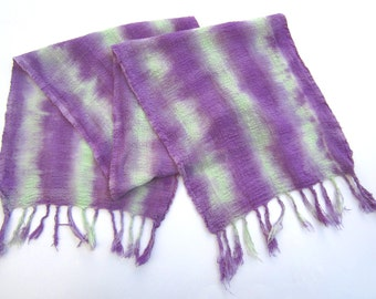Handwoven Scarf Dyed in Mint Green & Lavender Purple Stripes