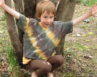 Organic Tshirt in Orange and Brown Tie Dyed Diagonal Stripes, Child Size Small
