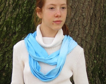 Blue Ombre Scarf, Infinity Circle, Hand Dyed in Cotton Knit Fabric for Men and Women