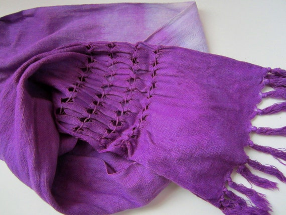 Purple Ombre Scarf, Handwoven in Cotton and Hand Dyed in Shades of Violet