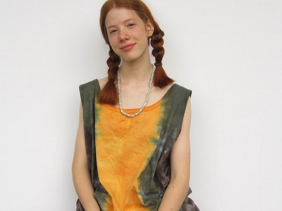 Tiedyed Tunic Tank Dress in Orange and Brown for Women and Teens