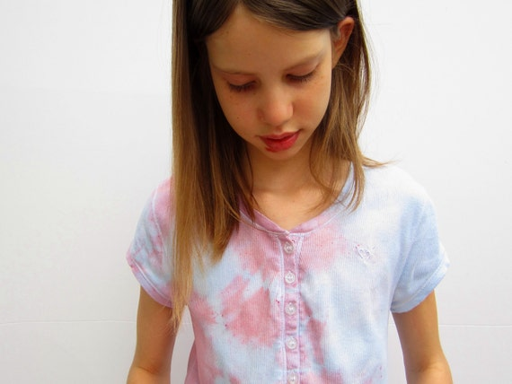 Tie-dyed Girls Shirt in Pink and Blue