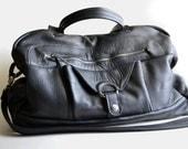 SPRING SALE,  Weekender, Luggage, Travel  Bag, Black Leather, 9 Pocket