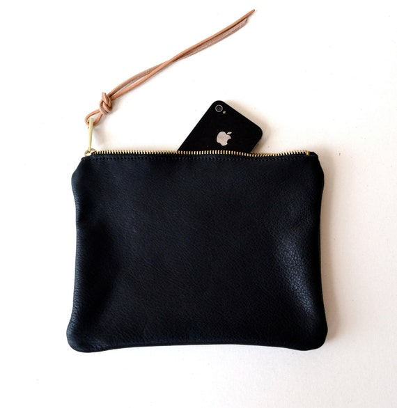 Black Leather Pouch, Clutch