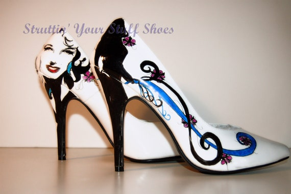 Womens Hand Painted Hight Heel Pumps Glamour Design  Size 8