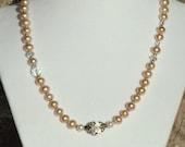 Blush Pearl and Swarovski Crystal Necklace Set