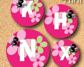 White and pink Alphabet flower-Printable 1 inch round digital collage sheet in Letter size paper-RD10011