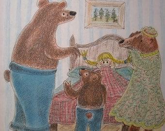 Goldy Locks Meets The Three Bears - 8 in x 10 in print
