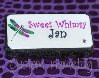 Custom Domino Name tag with magnetic back - name tag - custom name tag - nametag - domino name tag