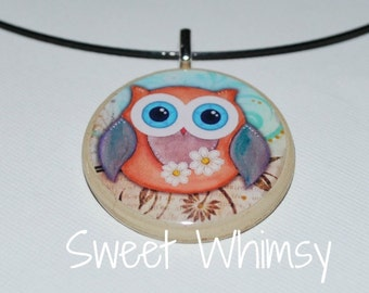 Wise owl poker chip pendant and necklace