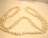 Handmade snow and Ice fresh water pearl long necklace