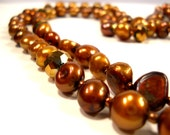 Bronze Pearls and Crystals Necklace