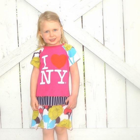 Pink Girls Dress Floral Girls Dress I Love New York Girls Dress Upcycled Girls Dress Stripes Little Girls Dress Eco Friendly Size 3T