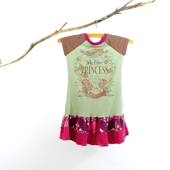 Be Mine Princess Girls Dress - Size 4T - Handmade & Upcycled