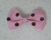 Girl's Pink with Brown Polka Dots Hair Bow Clip