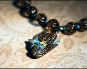 Opal Bird Smoky Quartz Necklace