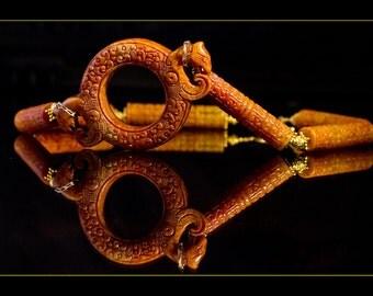 SALE  Carved Jade Dragon Necklace