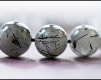 S A L E  Tourmalinated Quartz Necklace white gray black abstract pattern graduating round big natural stone beads