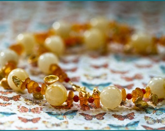 S A L E  Yellow Jade and Amber Butterfly Necklace