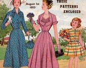 Australian Home Journal August 1953 1950s  vintage magazine sewing knitting  patterns paper pattern