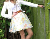 reserved / do not order / 20 % DISCOUNT / Romantic and Girly Light Weight On Trend Organza Fabric Skirt with Floral Print (size S)