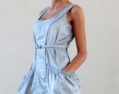 50 % DISCOUNT / Athletic Style Pearl Gray Free Silhouette Women Dress with Detachable Elastic Belt (size M) / Handmade