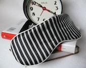 10% DISCOUNT / Elegant and Soft / Black and White Stripe Handmade Sleep / Eye Mask with Silk Lining