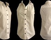 RESERVED / Elegant Sleeveless Styling White Cotton Women Shirt / Blouse with Collar Detail and Black Color Buttons