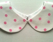 40 % SUPER DISCOUNT Lovely White and Pink Polka Dot Handmade Detachable Peter Pan Collar / Col Claudine