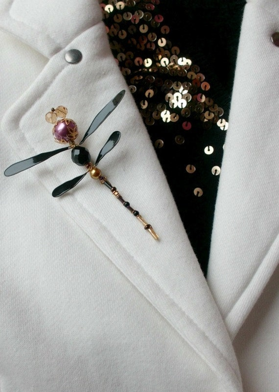 Black / Golden / Rose Color Handmade Pearl and Beads Fantasy Dragonfly Safety Pin Brooch