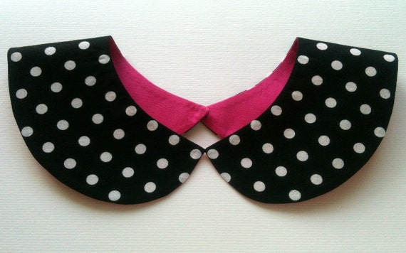 Black and White Polka Dot Handmade Detachable Peter Pan Collar Necklace / Must Have On Trend Summer Accessory / Col Claudine