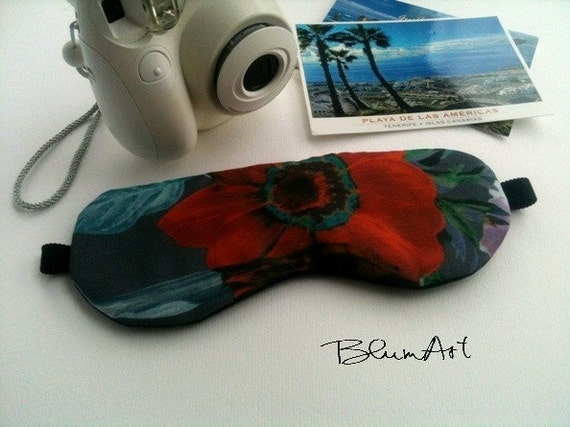 Red Poppy Cotton Black Silk Handmade Sleep Eye Mask / Summer Vacation Accessory