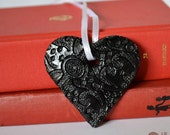Custom Listing - Set of 13 Ceramic Heart Ornaments with lace texture for mkraudy