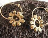 Gold Flower Hoops , 14k Goldfilled hoops , Minimalist  jewelry , Handmade by Adi Yesod