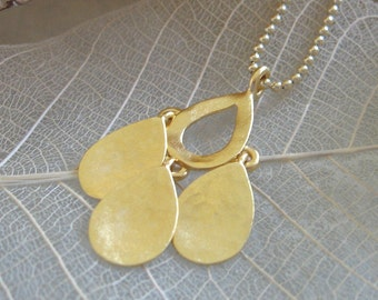 Drops pendant , delicate gold necklace , 14k goldfilled chain ,  handmade by Adi Yesod