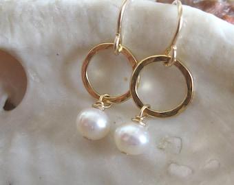 Gold pearl earrings , Delicate hammered circle earrings , Handmade by Adi Yesod