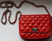 Vintage red quilted shoulder bag, red trendy purse