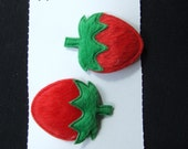 Pair of small fluffy strawberry hair clips