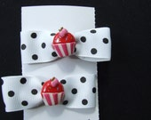 Pair of small polka dot cupcake hair bows white/black